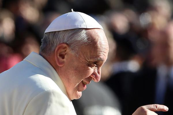 Pope Francis arrives in St. Peter's Square Wednesday for his weekly audience in Vatican City.