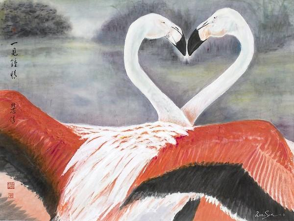 """Wai-Sin Tong-Darbonne's """"Love at First Sight"""" is on display at Floating Cloud Gallery."""