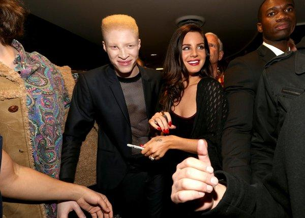 """Lana Del Rey, right, and co-star Shaun Ross attend the premiere of """"Tropico"""" in Hollywood."""
