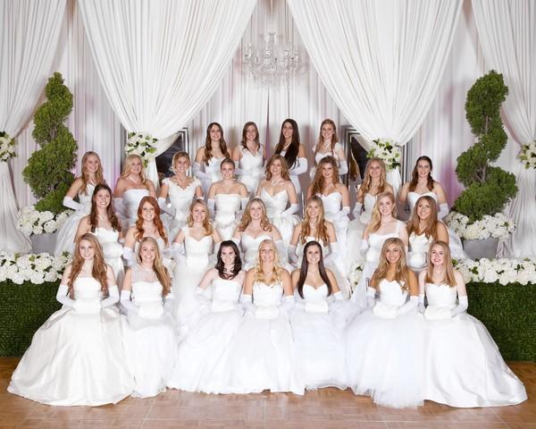 The 2013 National Charity League, Inc. Newport Beach Chapter debutantes were presented to society at the 53rd Debutante Ball Nov. 30 at the Hotel Irvine. Bottom row: Lauren Michelle Anderson, Lily James Anderson, Shannon O'Neil Barth, Megan Jean Bathen, Jordan Suzanne Castleton, Daniella Elsa Chila, Catherine Louise Connelly. Second row: Marguerite O'Toole Danner, Meredith Streeter Davin, Alexa Nicolle DeSantis, Sally Elizabeth Evans, Megan Elizabeth Farley, Kylie Rose Gaughan, Caroline Lane Graham. Third row: Hannah Grace Hall, Shelby Yvonne Perez, Emilie Darin Jajonie, Caitlyn Mardee Johnson, Jane Grace Layton, Katherine Marie Maddox, Paige Lauren Miller, Kylie Tamm Mulvaney. Back row: Ashlee Ann Queathem, Kari Michelle Hancock, Brenna Marie Van Hoogenstyn, Jamison Elizabeth Searles.