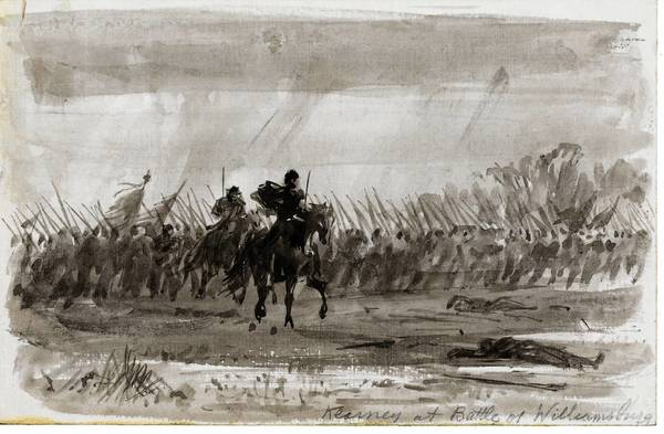 Famed Union war correspondent Alfred Waud drew this eye-witness view of Brig. Gen. Phillip Kearny during the Battle of Williamsburg when he took his reins in his teeth, extended his sword with his remaining arm and led a charge that turned the tide of battle.