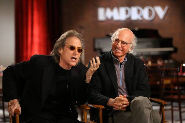 "Richard Lewis, left, and Larry David in ""The Improve: 50 Years Behind the Brick Wall."""