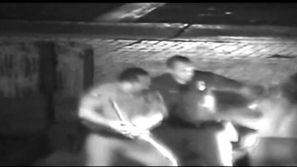 A shirtless Kelly Thomas is shown being hit repeatedly with fists, a baton and the butt on a stun gun by Fullerton police officers in a dramatic video that was shown in court for the first time Monday.