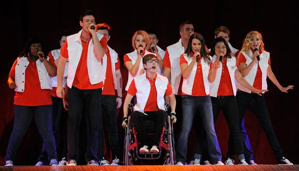 Cast members including, front (L-R) Amber Riley, Cory Monteith, Kevin McHale, Lea Michele, Jenna Ushkowitz and Heather Morris perform during the kickoff of the Glee Live! In Concert! tour.