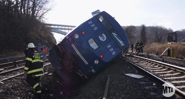 "A still image taken from a MTA (Metropolitan Transportation Authority) video shows Hudson Line derailment recovery operations in New York December 2, 2013. The driver of a New York commuter train that derailed on Sunday, killing four people, told investigators he ""lost focus"" and went into a daze shortly before the crash, according to a law-enforcement source. Footage taken December 2, 2013."