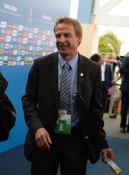 The coach of the U.S. national soccer team, Jurgen Klinsmann, arrives for the final draw Friday in Brazil.