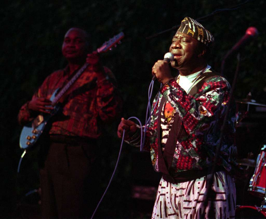 Tabu Ley Rochereau, seen here performing with his troupe in Long Beach in 1995, traveled the world with his music that blended African and Latin rhythms.