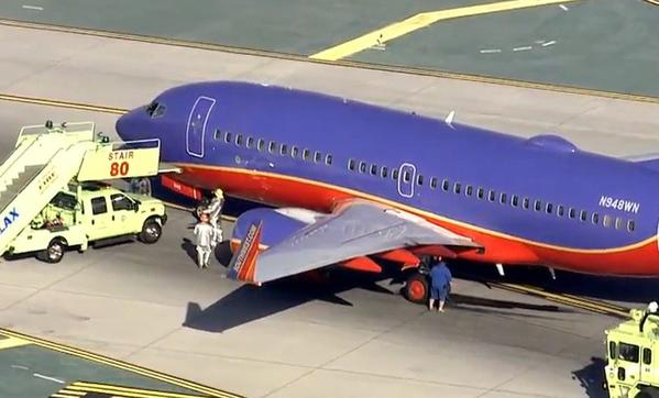 A Southwest jet blew a tire upon landing at LAX on Friday. No passengers were injured.
