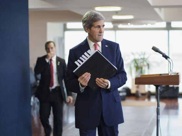 U.S. Secretary of State John F. Kerry walks away from the lectern after answering questions from the media in Tel Aviv on Friday.