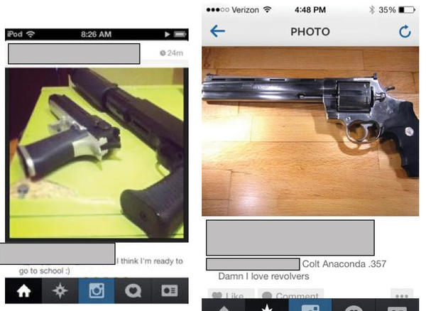 Police have charged a 13-year-old boy with disorderly conduct after they say he posted a photo of two guns on Instagram, left. Police are also investigating the Instagram post on the right.