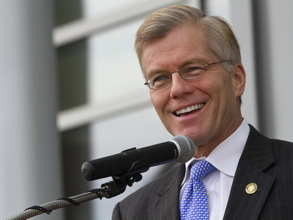 Gov. Bob McDonnell speaks during a ceremony to mark the opening of the new Apprentice School facility on Friday in Newport News.