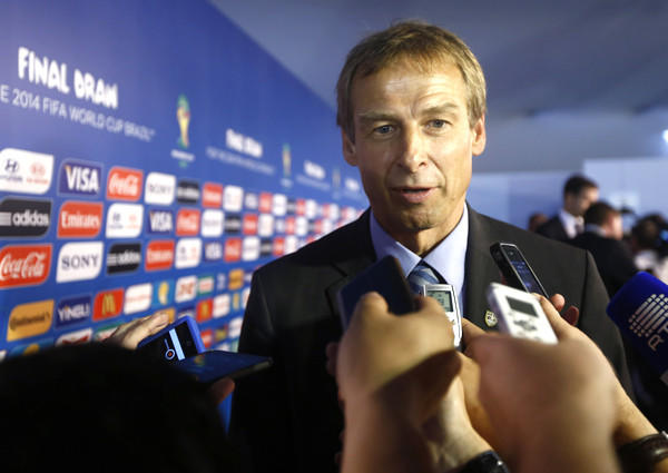 American Coach Juergen Klinsmann field questions from reporters Friday after learning that the U.S. drew a difficult group for the 2014 World Cup.