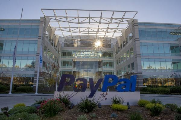 PayPal Inc. signage at the company's headquarters in San Jose.
