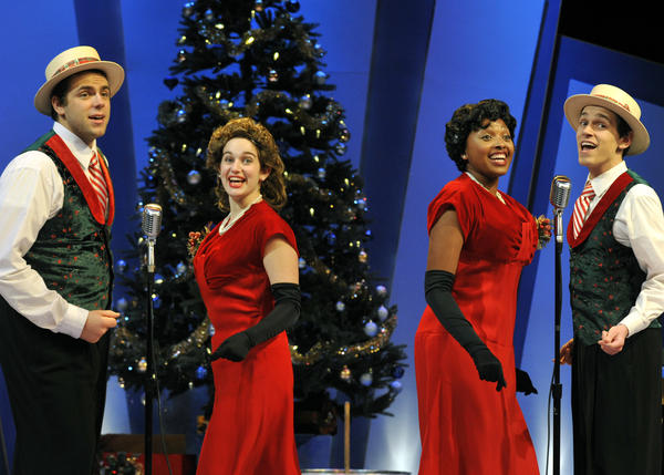 "A quartet of singers -- A. Ross Neal (from left), Sophie Bell, Bridgette Hoover and Jeffrey Todd Parrott -- add holiday cheer to ""It's a Wonderful Life: A Live Radio Play."""