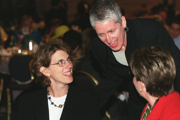 Harvard economist Juliet Schor (left) with Executive Dir. of Women Empolyed Anne Ladky (center) and Illinois Lt. Gov. Corinne Wood (right) at the 27th anniversary luncheon of Women Employed in 2000.