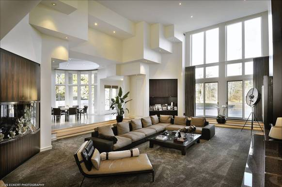 The living room inside Michael Jordan's 56,000-square foot Highland Park estate.