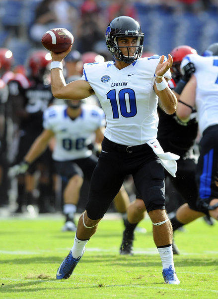 Eastern Illinois Panthers quarterback Jimmy Garoppolo (10) drops back to pass during the first half against the San Diego State Aztecs at Qualcomm Stadium.