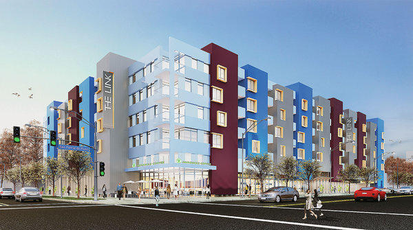 A rendering of a proposed mixed-use project known as The Link, to be considered by City Council members Tuesday.