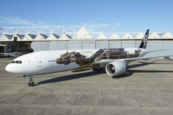 "Air New Zealand Boeing 777-300 aircraft is emblazoned with a graphic of the mythical dragon Smaug, the star of the second installment of Peter Jackson's ""The Hobbit"" movie trilogy, in Auckland, New Zealand."