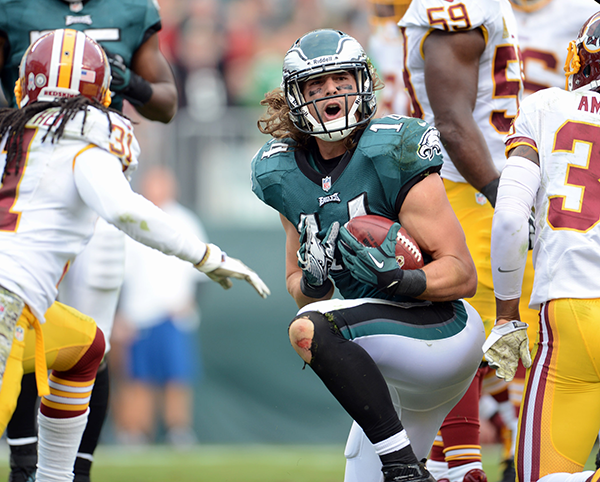 Philadelphia Eagles wide receiver Riley Cooper (14) celebrates a catch against the Washington Redskins at Lincoln Financial Field in Philadelphia.