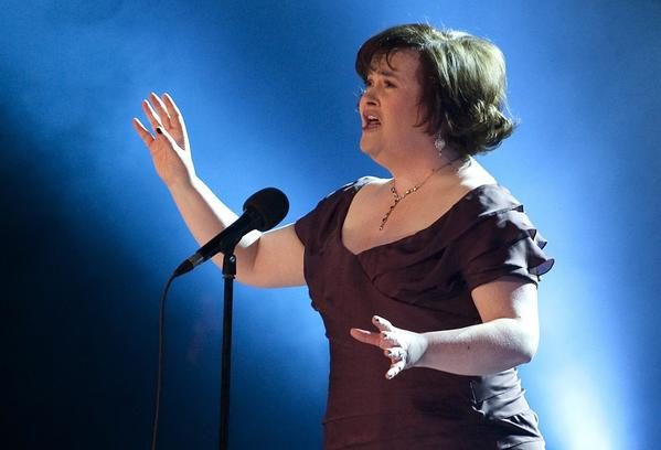 Scottish singer Susan Boyle performing the song 'I Dreamed a Dream' at the Danish relief show 'The Denmark Collection' at the Tivoli Concert Hall in Copenhagen, Denmark. In an interview with British newspaper The Observer published on 08 December 2013, Boyle admitted she was diagnosed with Asperger's syndrome.
