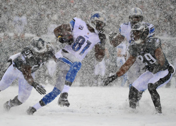 Detroit Lions receiver Calvin Johnson (81) runs after a catch against the Philadelphia Eagles at Lincoln Financial Field.