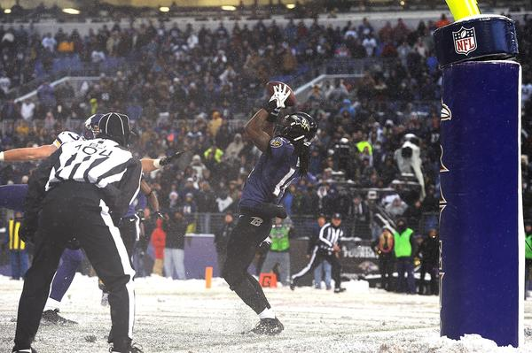 Ravens rookie wide receiver Marlon Brown makes the winning catch against the Minnesota Vikings.
