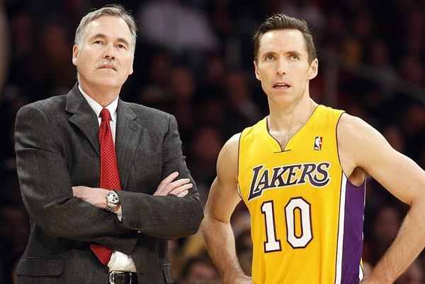 Lakers Coach Mike D'Antoni has a problem rationing minutes at point guard with veteran Steve Nash (10) and backup Jordan Farmar (not pictured) injured.