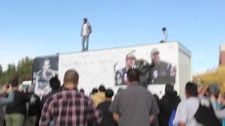 Paul Walker and Jason Rodas get 2 minutes of silence from fans at the crash site memorial (for possible inclusion in Fast and Furious 7) in Valencia, CA