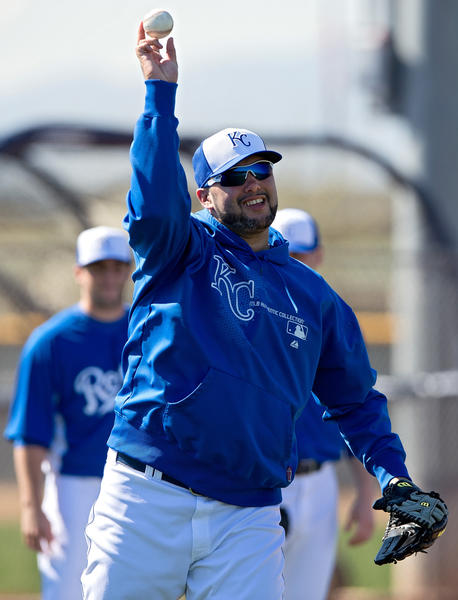 Pitcher Felipe Paulino takes part in a light workout during Royals spring training in February.