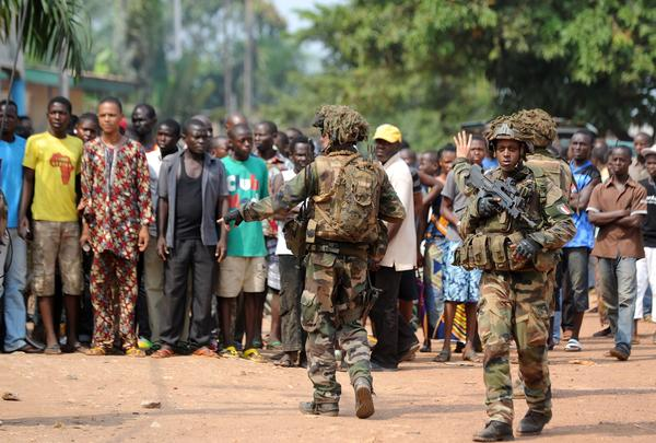 Troops conduct a disarmament operation Monday in Bangui, the capital of the Central African Republic.