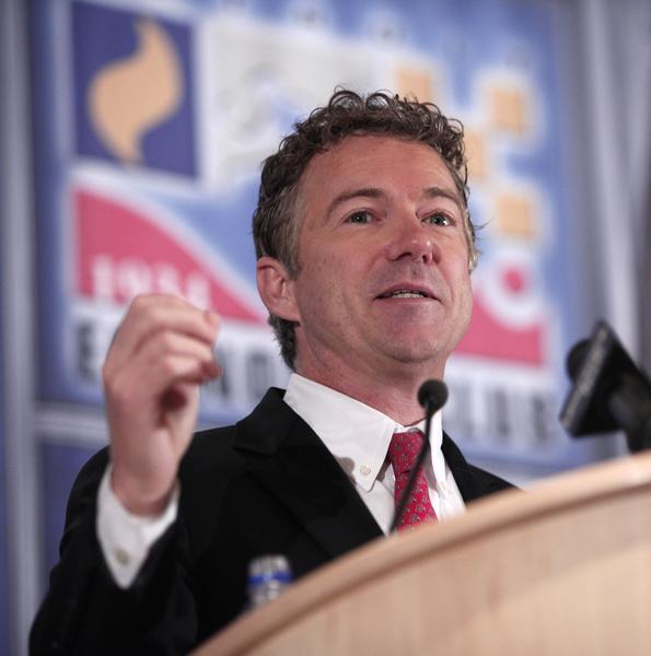 Sen. Rand Paul speaks before the Detroit Economic Club on Dec. 6. Paul believes extending federal jobless benefits is not in unemployed workers' best interests.