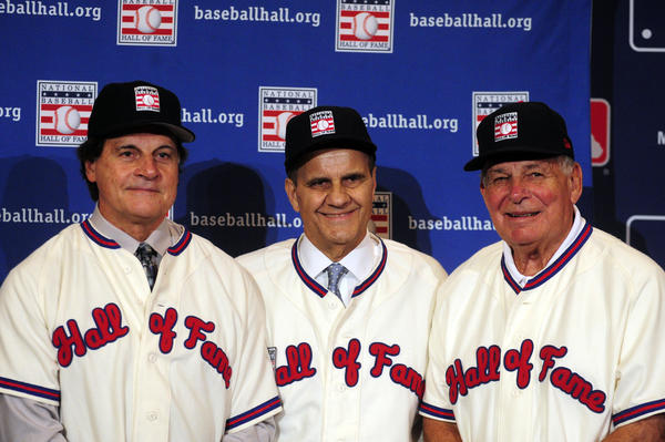 Dec 9, 2013; Orlando, FL, USA; Newly-inducted Baseball Hall of Fame managers Tony La Russa, Joe Torre and Bobby Cox (l-r) pose for a photo during the MLB Winter Meetings at Walt Disney World Swan and Dolphin.