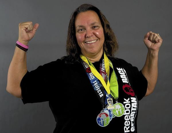 Wanda Missy, 53, of Allentown, earned medals at a recent Spartan Beast race in South Carolina.
