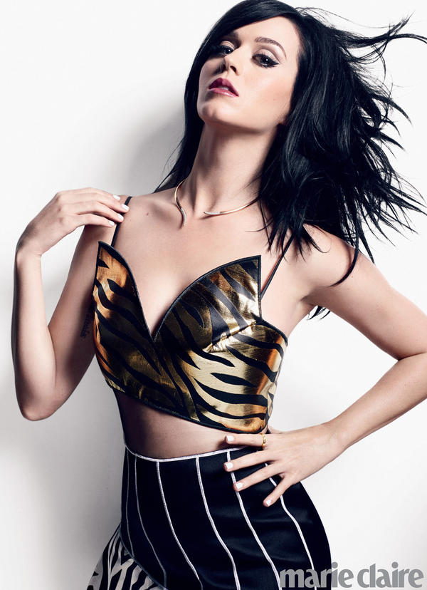 Katy Perry looks like she's about to roar in this picture from her Marie Claire photo shoot.