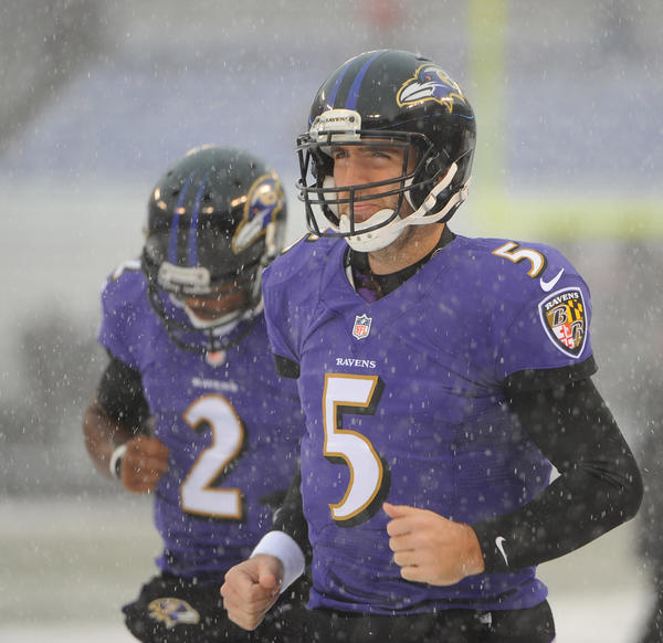 Ravens quarterback Joe Flacco warms up before the game against the Minnesota Vikings.