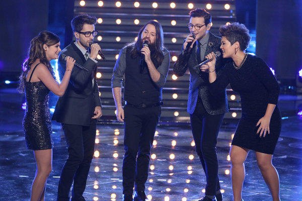 """L-R: Jacquie Lee, Will Champlin, Cole Vosbury, James Wolpert and Tessanne Chin sing on """"The Voice."""""""