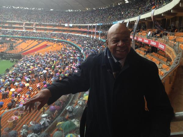 Rep. Elijah E. Cummings, D-Md., at FNB Stadium for Nelson Mandela's memorial.