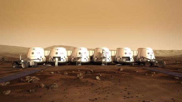 Mars One provides an artist's concept of what a Red Planet settlement might look like.
