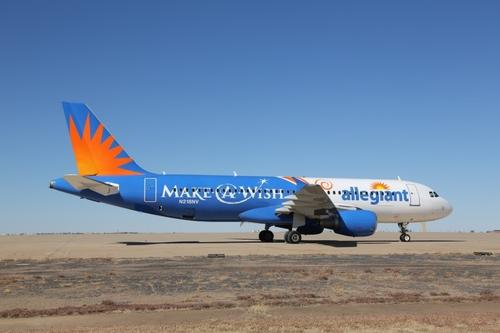 Las Vegas-based Allegiant has painted an Airbus A320 with a special design, in honor of the company's collaboration with the Make-A-Wish foundation.
