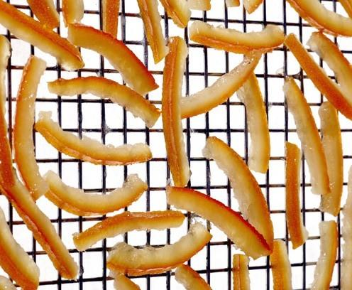 Candied orange peel -- an essential holiday ingredient, but also great on its own for snacking or for gifts.