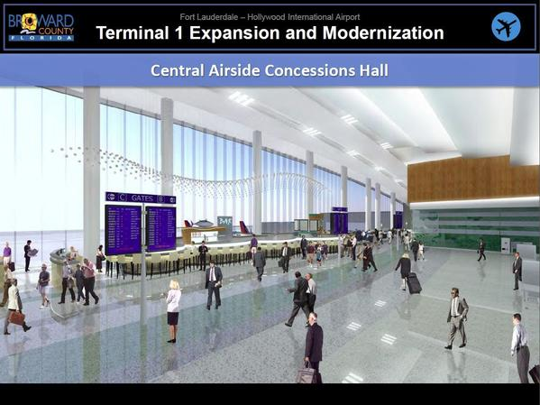 The $300 million Terminal 1 upgrade at Fort Lauderdale-Hollywood International Airport will include creating five new gates for international flights, a new security checkpoint and a concessions hall that will connect to the existing concourses. Handout photo provided by: Broward County Aviation Department