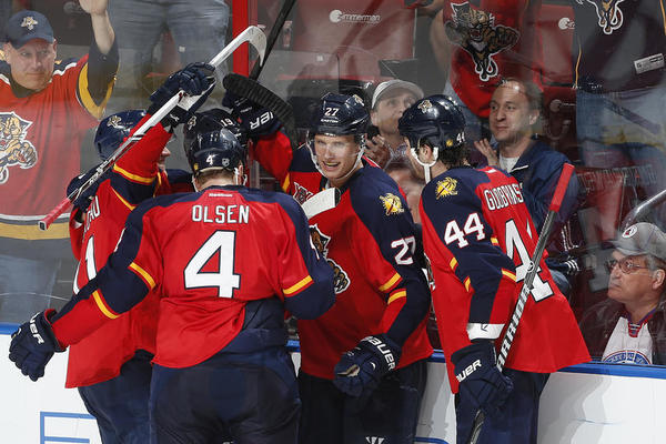 Panthers' Nick Bjugstad (No. 27) celebrates his tying goal in the third period against Detroit at the BB&T Center in Sunrise, Florida.