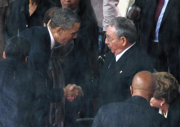 Some Republican lawmakers criticized President Obama for shaking hands with his Cuban counterpart, Raul Castro, at the memorial service for Nelson Mandela in Johannesburg, South Africa.
