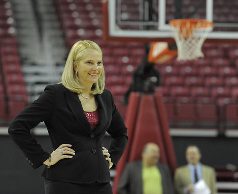 Maryland women's basketball coach Brenda Frese holds court during the team's 2013 media day at Comcast Center.