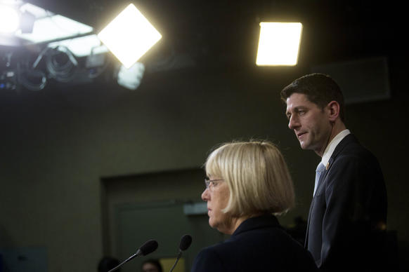 Rep. Paul Ryan, (R-Wis.) and Sen. Patty Murray (D-Wash.) at a news conference discussing budget deal negotiations on Capitol Hill.