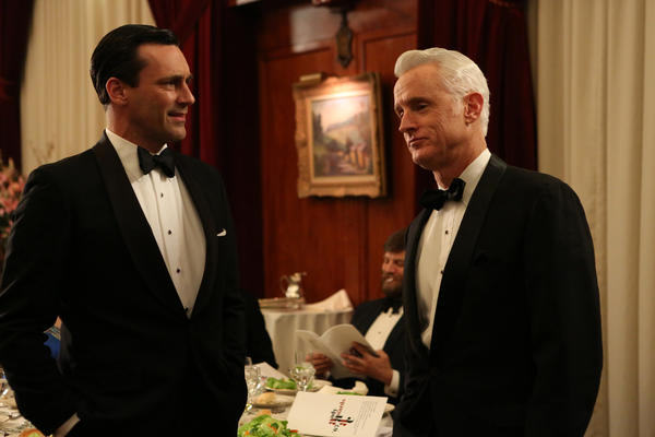 "Don Draper (Jon Hamm) and Roger Sterling (John Slattery) in ""Mad Men"" Season 6, Episode 5, ""The Flood."""