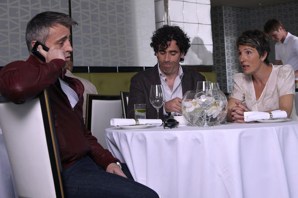 "Matt LeBlanc, left, Stephen Mangan and Tamsin Grieg in a scene from ""Episodes."""