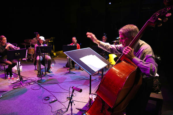 Charlie Haden performs with the CalArts Liberation Music Orchestra at REDCAT on Tuesday night.