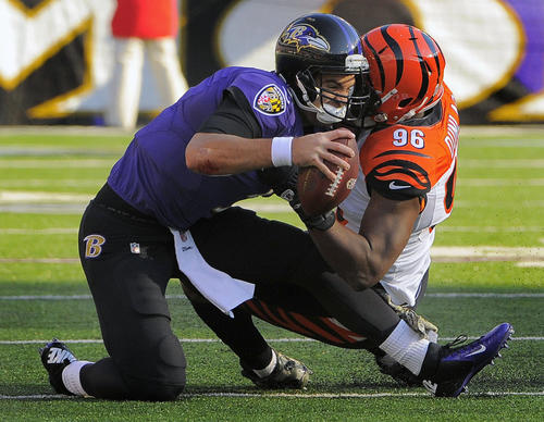 Joe Flacco struggles with accuracy. He moves in the pocket well at times, but he still doesn['t have good pocket awareness. Even when outside the pocket, he doesn't know when to throw it away. Flacco averaged only 7.0 yards per pass and finished with a rating of 60.0. He would have been the worst quarterback on the field, but the Bengals' Andy Dalton took the honors. <b>Grade: D</b>